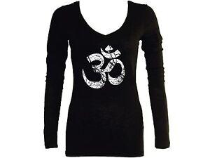 545684a3f4b20 Ohm Aum distressed look yoga wear meditation women black sleeved v ...