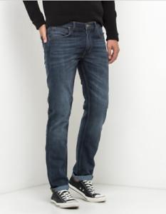 Mens Ex Lee Daren Regular Slim Jeans Dark Side Blue RRP £85 Seconds L178