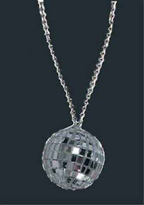 Huge Funky DISCO GLASS MIRROR BALL NECKLACE Retro Theme Party DJ Novelty Jewelry
