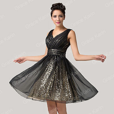 Short Bridesmaid BALL Gowns Dresses Party Chiffon & Sequins Prom Evening Dresses