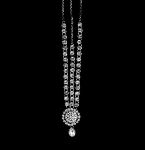 Indian Asian Bollywood Silver Diamante Matha Patti Tikka Headpiece Head Chain