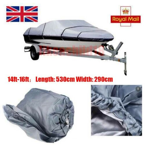 1PCS Waterproof Gray 14ft-16ft 210D Speedboat Boat Cover Match Fish-Ski V-Hull