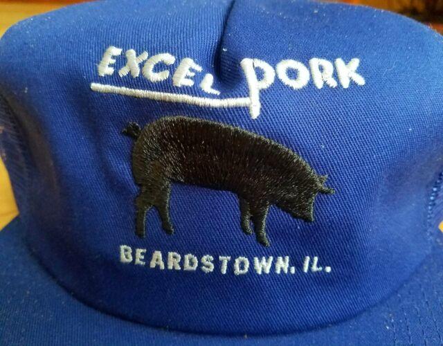 VTG-1980s Excel Pork Pig Farm foam mesh trucker snapback hat cap Made in the USA