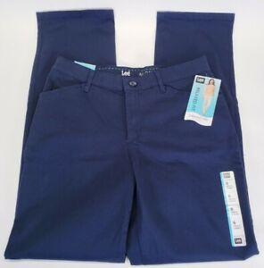Lee Jeans Para Mujer Recto Relajado Tamano Mediano 6 Pantalones De Lona Azul Todo El Dia Ebay