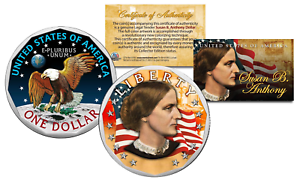 SUSAN-B-ANTHONY-Genuine-One-Dollar-Coin-w-Coin-Capsule-amp-COA-Color-2-SIDED