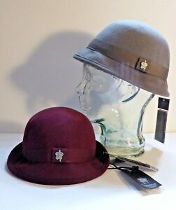 outlet best online a few days away Details about 2 Christys' Crown Collection Bowler Hats Flip Brim GREY  MAROON Wool Hat NWT!