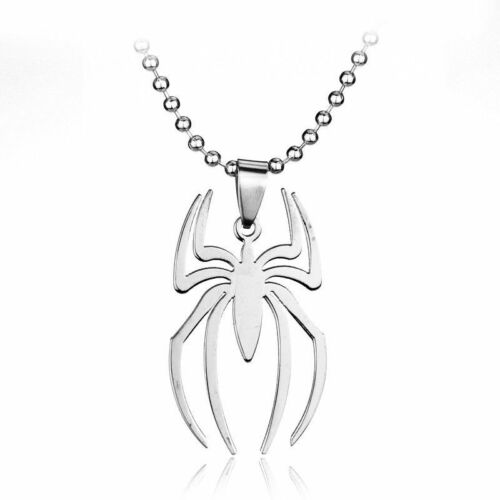 Silver Spiderman Pendant Necklace Steel Spider Super Hero Jewelry Chain Marvel