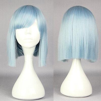 Neu Harajuku Stil Charme Blau Bob Perücken Kurz Glatt Gerade Anime Perücken Haar