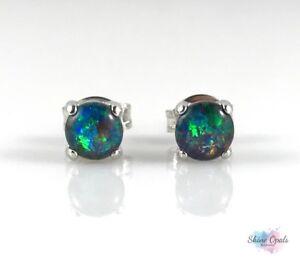 8d20ef0c1233b Details about Small Opal Stud Earrings Genuine Australian Opal 4x4mm 925  Sterling Silver