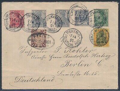 Dp China 25 Pfennig Germania Petschili Beleg 1901 Zusatzfrankatur Attest (s16620