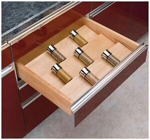 Wooden Kitchen Drawer Cabinet Spice Jar Storage Organizer Holder Tray Insert New Ebay