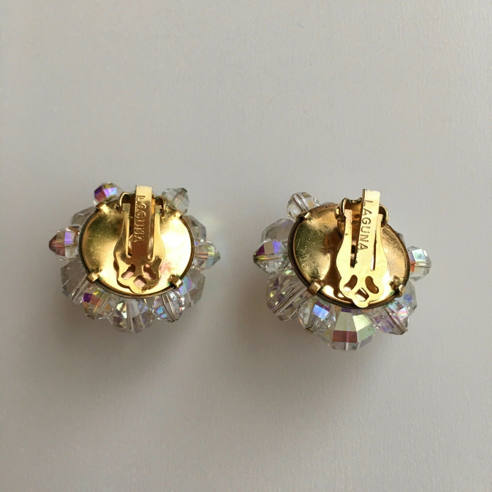 1950/'s Signed Necklace And Earrings Elegant Vintage Laguna Facet Aurora Borealis Crystal  Clip Ons/& Necklace 2 Strand Signed Laguna Set