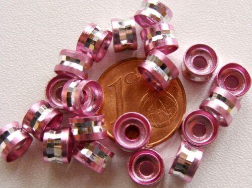 20 perles rondelles taillées ROSE 6x4mm Aluminium  DIY création bijoux