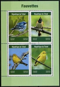 Chad-2019-CTO-Usignoli-FRINGUELLO-4v-M-S-fauvettes-birds-stamps
