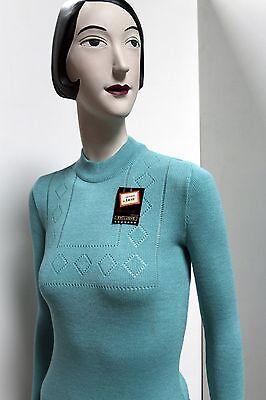 Maglione Pullover A Maglia Tricot Turchese True Vintage 70er Nos Mai Indossato Scatola Originale-mostra Il Titolo Originale Prezzo Di Strada
