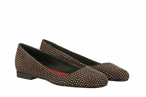 MORI MADE IN ITALY FLATS SCHUHE SHOES BALLERINA CRYSTAL LEATHER BROWN MARRONE 41