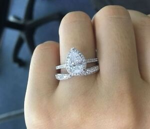 Exceptionnel Image Is Loading Certified 2 65Ct Pear Cut 14k White Gold