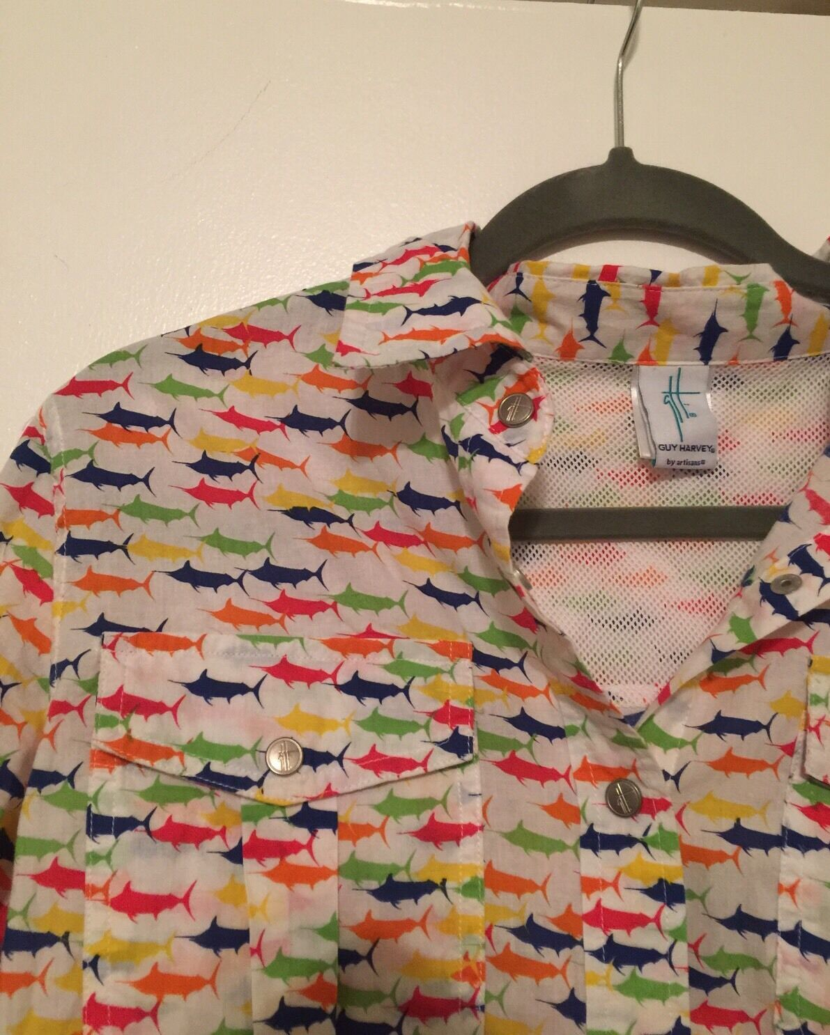 Guy Harvey Vented Tuna Swordfish Mahi Fish  Shirt M Worn For Only A Few Hours