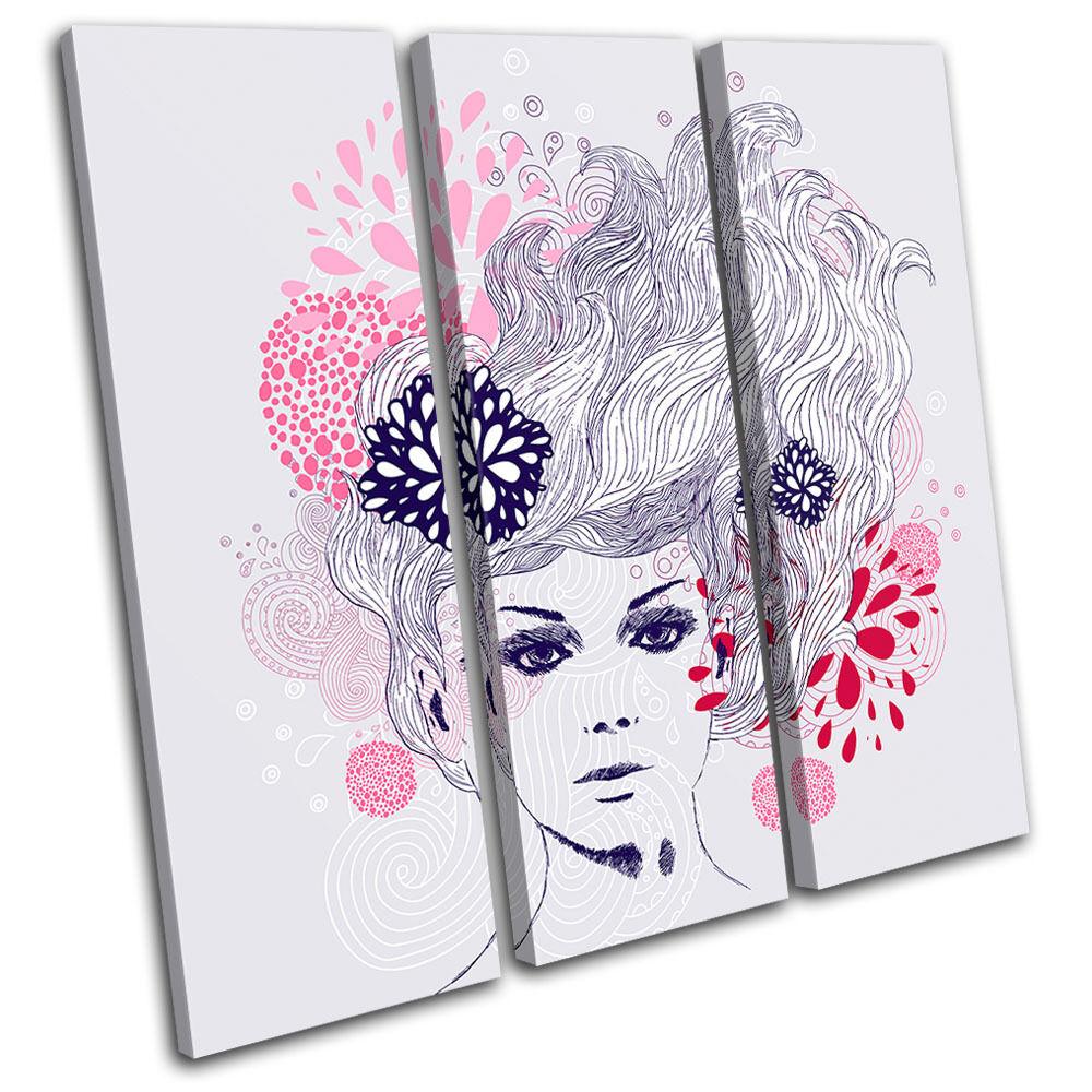 Floral female Illustration TREBLE Leinwand Wand Kunst Bild drucken
