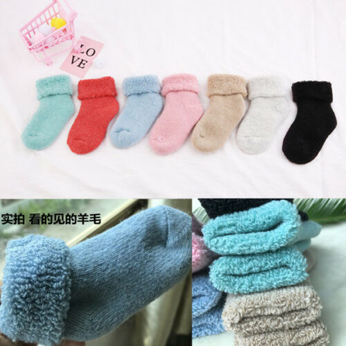 3 Pair Kids Winter Thicken Warm Wool Thermal Cashmere Casual Socks For Boy Girl