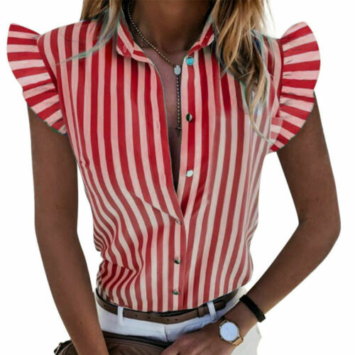 Women Button Striped T Shirts Tops Ladies Ruffle Short Sleeve Casual Blouse Tee