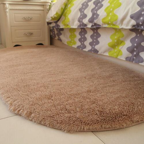 Plush Non-slip Shaggy Area Rug Oval Carpet Floor Mats for Living Room Home Decor