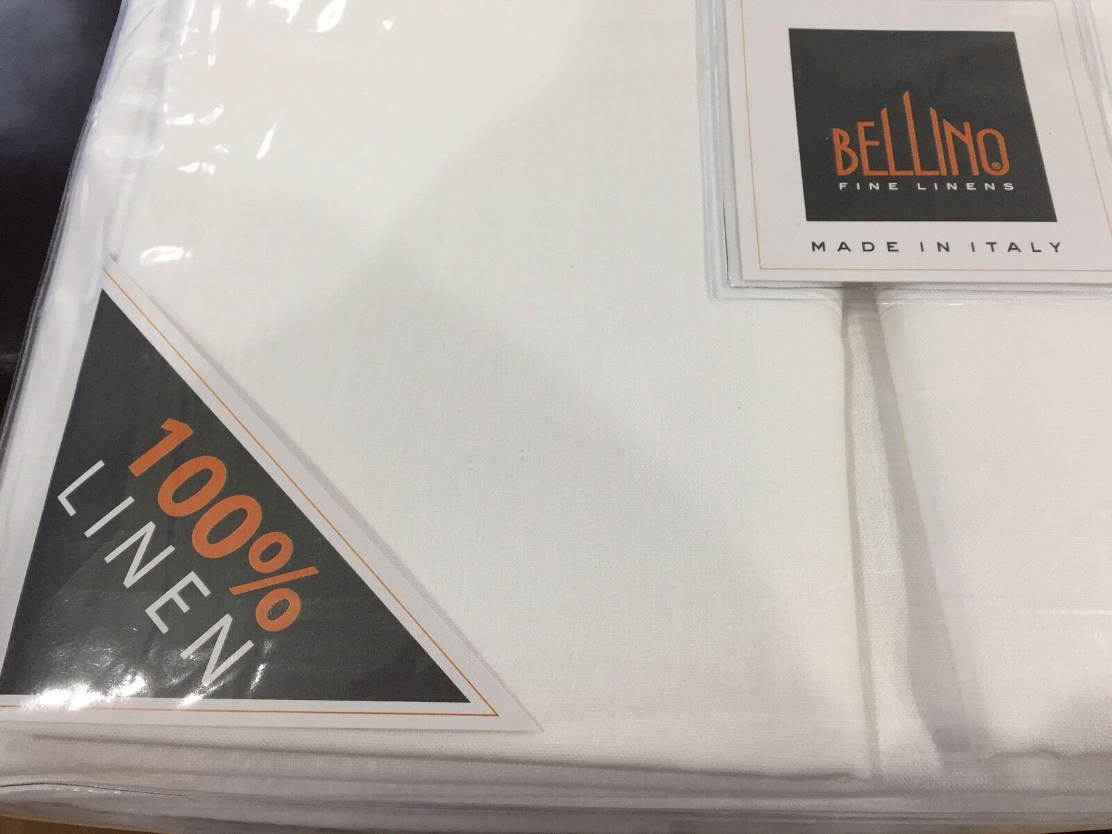 Bellino  NWT (4) King Sheet Set 100% Linen Italian White 17