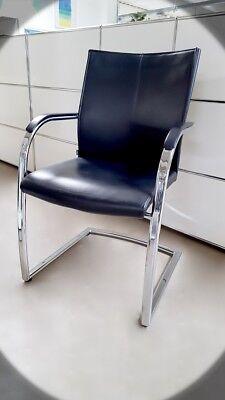 Büromöbel Systematisch Klöber Orb 56 Leder Freischwinger Konferenzstuhl Besucherstuhl Schwarz Bs0016 GläNzend