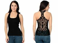 Stylish Lace Back Tank Top/ Women Unique Sexy Crochet Eyelet Razorback in Black