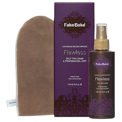 Fake Bake Flawless Instant Self-Tanning Liquid - 6oz With Mitt NEW Paraben Free