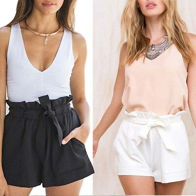 Women Hot Pants Summer Casual Loose Shorts Bow Beach High Waist Short Trousers