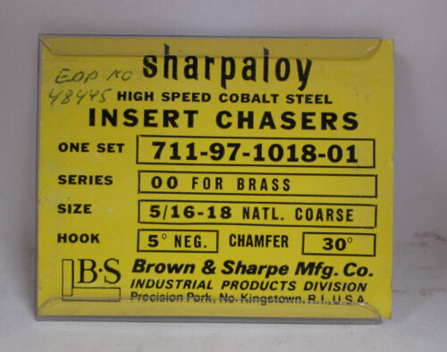 "Sharpaloy 5//16/"" 18 Series 00 Threading Chaser Set for Brass"