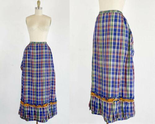 Authentic Victorian Skirt - Bustle Skirt - Plaid S