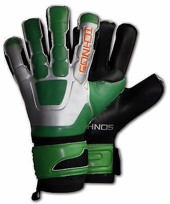 ICHNOS TACTIC GREEN FOOTBALL FINGER PROTECTION GOALKEEPER GLOVES SIZE 9