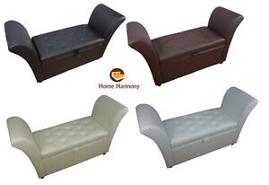 Window seat easy to assemble faux leather ottoman storage for Divano ottomano