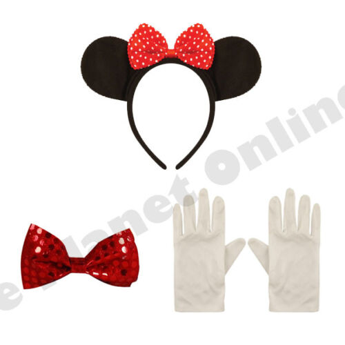 MINNIE MICKEY MOUSE EARS BOW TIE /& WHITE GLOVES FANCY DRESS HEN NIGHT PARTY