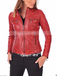 pelle vera agnello donna da rossa in in di da fit pelle slim Biker motociclista ZwpBqvn