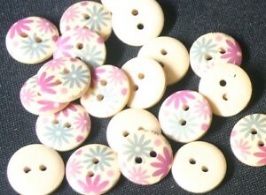 20-Purple-amp-Blue-Flowers-Wood-Buttons-13mm-Sewing-Craft-Scrapbooking-Quilting