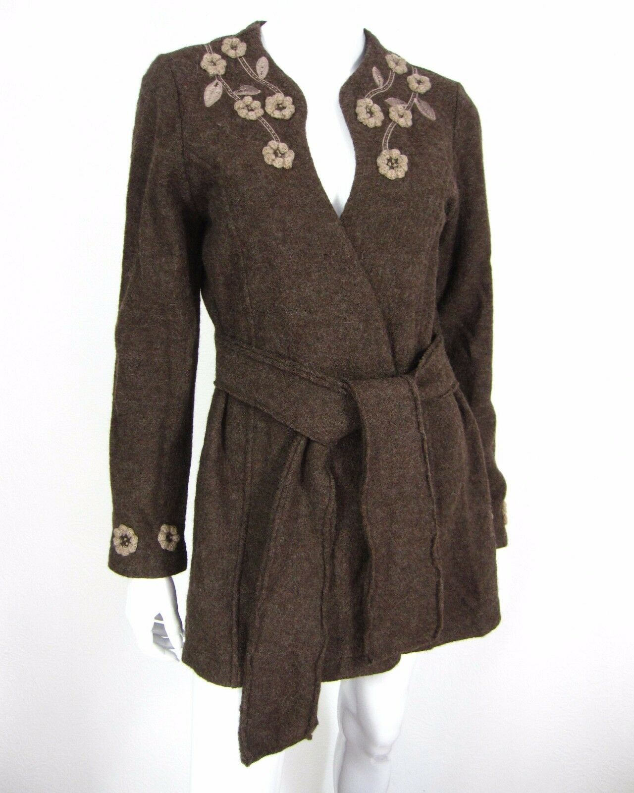 Cynthia Rowley Long Sleeve Wool Belted Cardigan Sweater Size S Small Brown