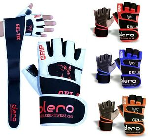 ISLERO-Leather-Weightlifting-Gloves-Gym-Straps-Wrist-Support-Wraps-Cycling-GEL