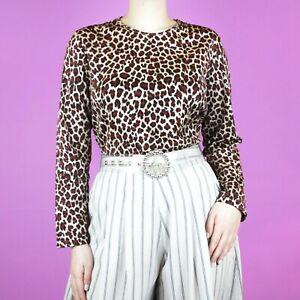 VINTAGE-Brown-Leopard-Beige-Red-Pattern-Animal-Cream-Glitter-Crop-90s-Blouse-Top
