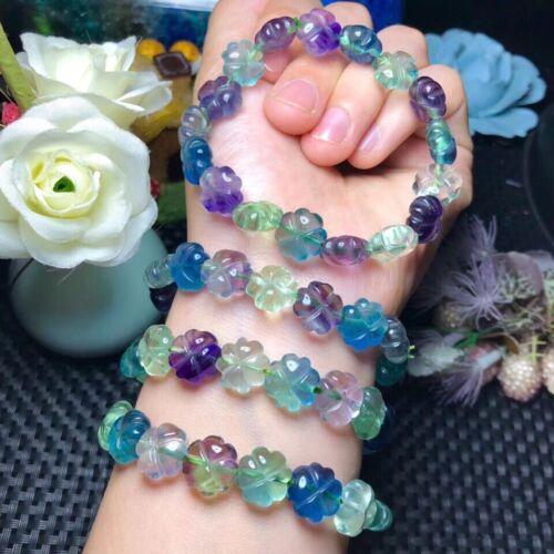 Genuine Natural Colorful Fluorite Crystal Flower Carved Beads Bracelet 12mm AAAA