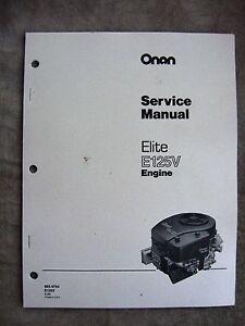 onan engine service manual elite e125v original ebay rh ebay com Onan Engine Model Numbers 18 HP Onan Engine Parts