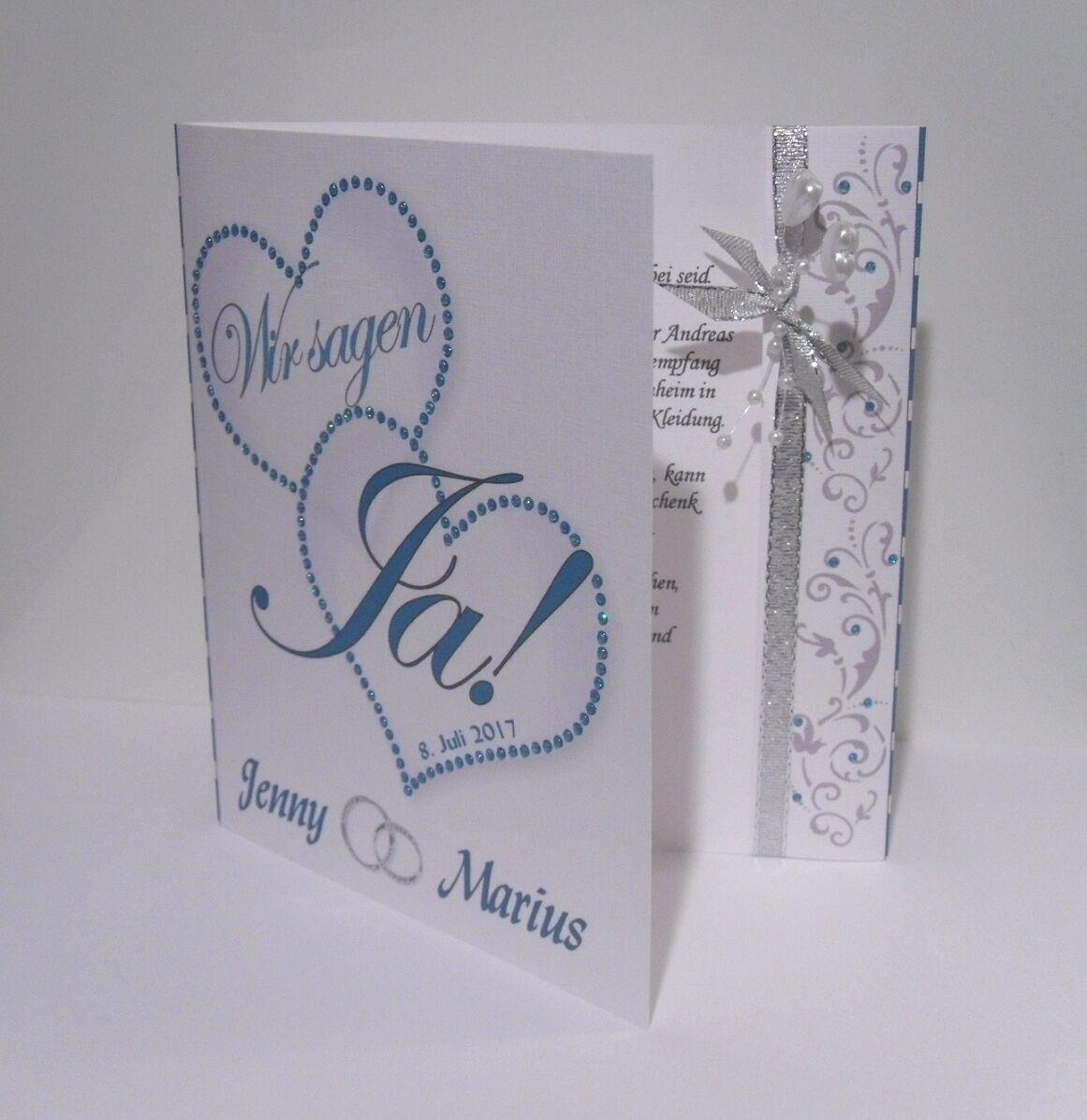 Einladungskarten zur Hochzeit weiß-türkis, Einladung, Einladungskarte   Online Shop Europe    Sehr gute Farbe