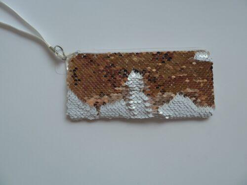 Paillettes cosmétique sac porte-monnaie Portefeuille Tournant paillettes or blanc