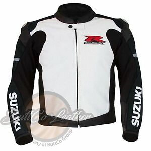 SUZUKI-1078-Motorbike-Motorcycle-Gear-Armour-Biker-Black-White-Leather-Jacket
