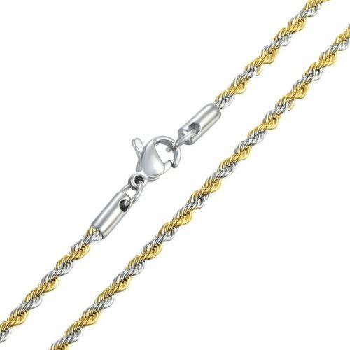 Twisted corde lien pour Femme Homme Chaîne Collier Sautoir Blanc Jaune Plaqué Or 2//3//4//6mm