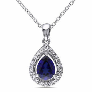 Amour Sterling Silver Created Blue and White Sapphire Drop Necklace