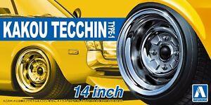 Aoshima-53232-Tuned-Parts-30-1-24-Kakou-Tecchin-Type-1-14-inch-Tire-amp-Wheel-Set