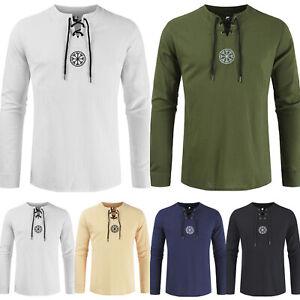 Mens-Lace-Up-V-Neck-Hoodies-Boho-Sweatshirt-Sweater-Jumper-Outwear-Jacket-Tops